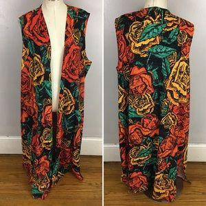 Lularoe Joy Floral Rose Duster Vest Cardigan XL